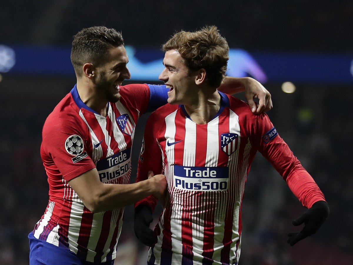 Atlética player Antoine Griezmann celebrates the goal
