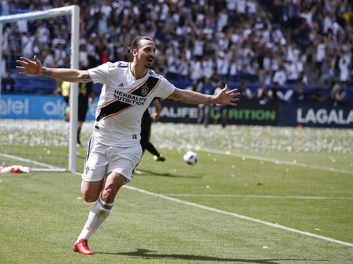 Zlatan Ibrahimović celebrates the goal