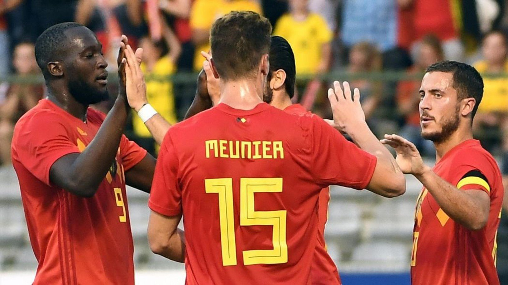 Hráči Belgicka sa tešia
