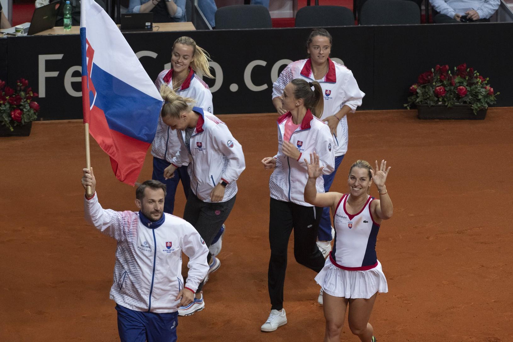 Radosť slovenského fedcupového tímu,