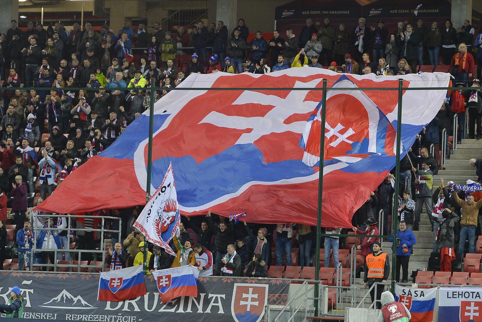 Slovenskí fanúšikovia počas zápasu