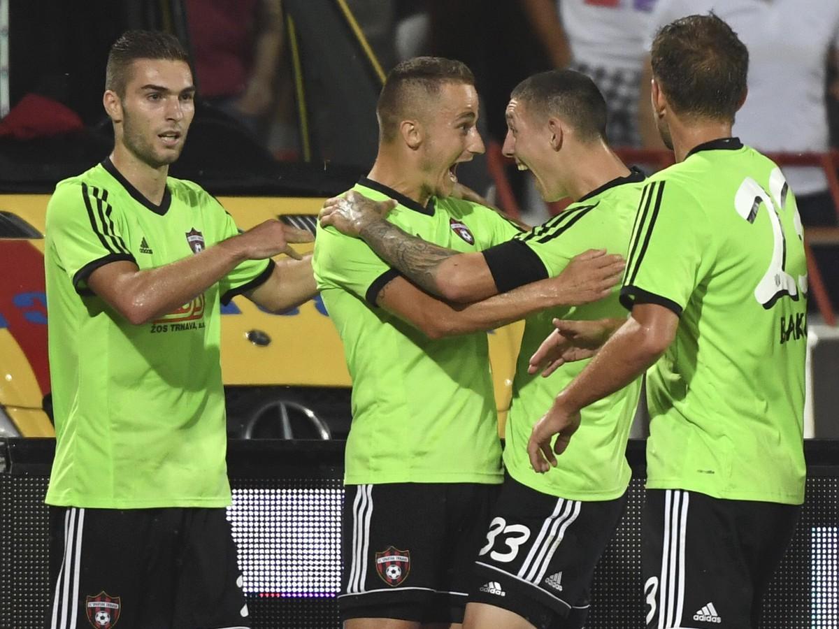 832c4da4bf Na snímke gólová radosť hráčov FC Spartak Trnava v prvom zápase 3. predkola  Ligy majstrov
