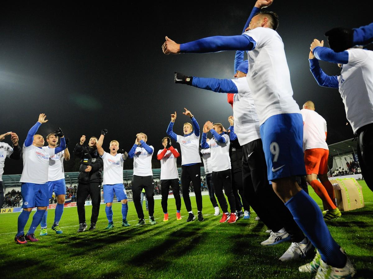 29e2cb30e0a25 Radosť hráčov Slovenska po skončení vťazného duelu proti Bielorusku