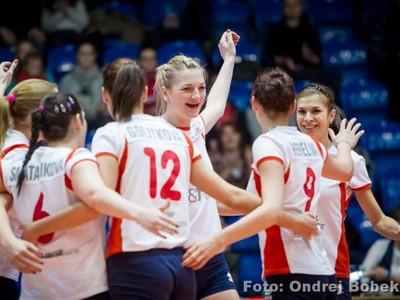 Víťazná radosť volejbalistiek Slávie