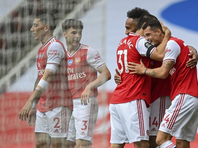 Radosť futbalistov Arsenalu