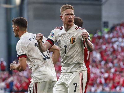 Kevin De Bruyne sa teší z gólu Belgicka