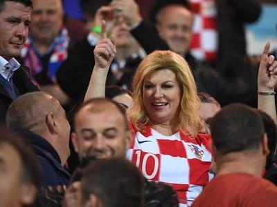 Chorvátska prezidentka Kolinda Grabarová Kitarovičová povzbudzuje Chorvátov