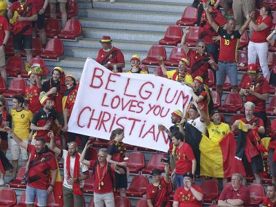 Belgickí fanúšikovia vzdali hold Christianovi Eriksenovi