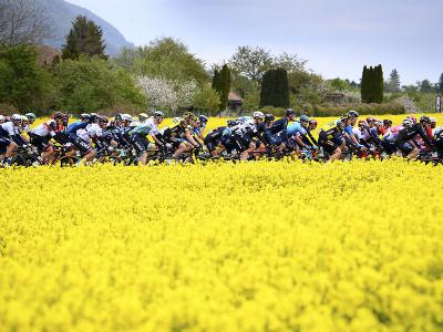 Cyklistický pelotón počas 2. etapy cyklistických pretekov Okolo Romandie