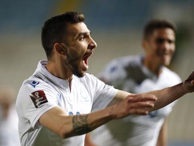 Futbalista Cypru Ioannis Pittas sa teší po strelení úvodného gólu