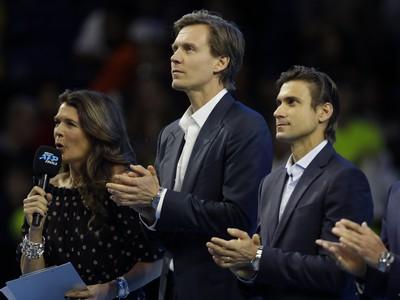 Lúčiaci sa Tomáš Berdych a David Ferrer