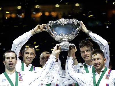 Českí tenisti po triumfe v Davisovom pohári