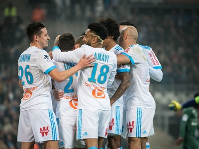 Gólové oslavy futbalistov Olympique Marseille