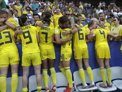 Víťazné oslavy futbalistiek Švédska