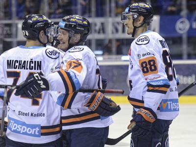 Hráči HC Košice počas hokejového zápasu 26. kola základnej časti Tipsport ligy 2019/2020 medzi HC Košice - MHk 32 Liptovský Mikuláš