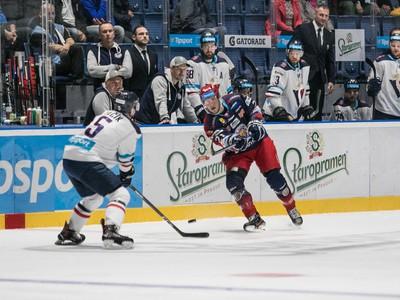 Sprava: Jake Hansen z HKM Zvolen a Patrik Bačík z HC Slovan Bratislava