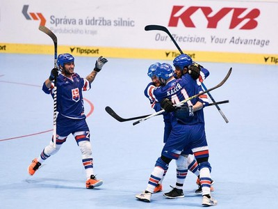 Radosť hokejbalistov Slovenska
