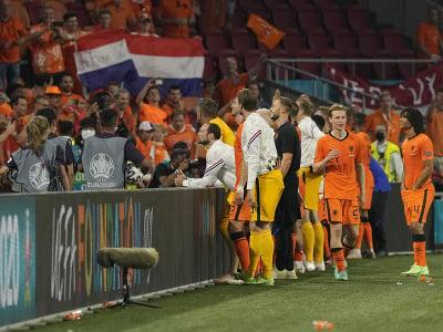 Na snímke hráči Holandska oslavujú s fanúšikmi
