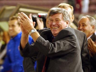 Jozef Adamec sa teší z piateho gólu Slovenska na pôde Macedónska (0:5) v kvalifikačnom zápase na MS 2002