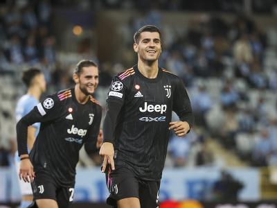Alvaro Morata oslavuje gól Juventusu