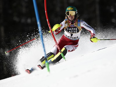 Katharina Liensbergerová počas prvého kola slalomu