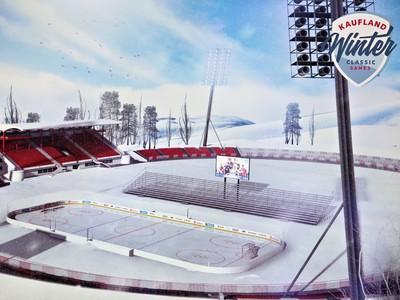 Vizualizácia Štadióna VŠC Dukla Banská Bystrica predstavená počas tlačovej konferencie k hokejovému projektu Kaufland Winter Classic Games 2019