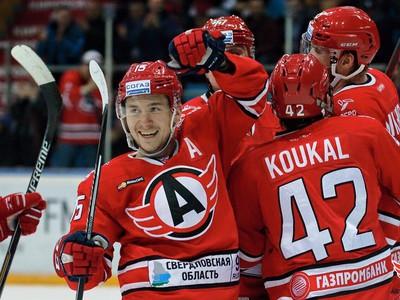 Gólové oslavy hokejistov Jekaterinburgu