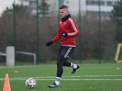 Nový hráč Trnavy Kristián Koštrna počas prvého tréningu v zimnej príprave pred jarnou časťou Fortuna ligy.