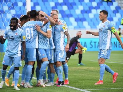 Gólová radosť hráčov Slovana