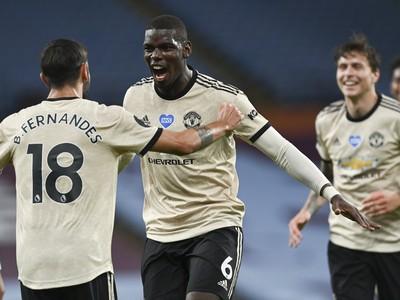Paul Pogba a Bruno Fernandes oslavujú gól United