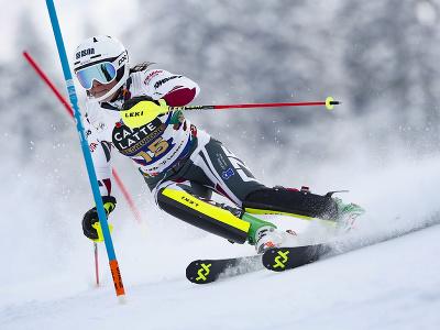 Martina Dubovská na trati prvého kola slalomu v Lenzerheide