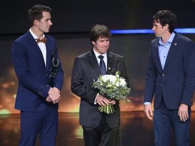 Najúspešnejší kolektív hliadky vodných slalomárov zľava Matej Beňuš, Michal Martikán a Alexander Slavkovský