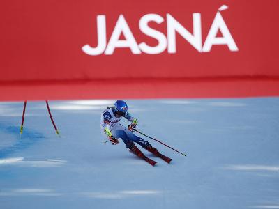 Mikaela Shiffrinová pred cieľom počas 2. kola obrovského slalomu v Jasnej
