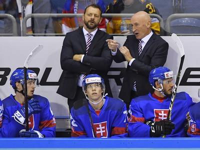 Na snímke tréner slovenskej hokejovej reprezentácie Craig Ramsay (hore vpravo)