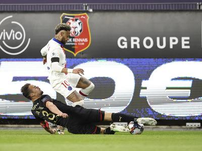Neymar v zápase proti Stade Rennes