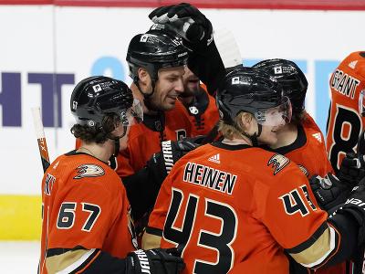 Hráči Anaheim Ducks oslavujú gól