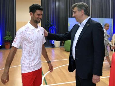 Novak Djokovič a chorvátsky premiér Andrej Plenkovič