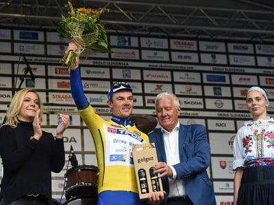 Na snímke Belgičan Yves Lampaert z tímu Deceuninck-Quick Step si udržal žltý dres vedúceho pretekára v priebežnom poradí po 3. etape 63. ročníka cyklistických pretekov Okolo Slovenska