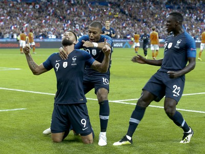 Hráči Francúzsko sa raduju