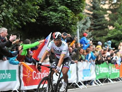Peter Sagan (Bora-Hansgrohe) prichádza druhý do cieľa v 2. etape 65. ročníka Medzinárodných cyklistických pretekov Okolo Slovenska v Dolnom Kubíne