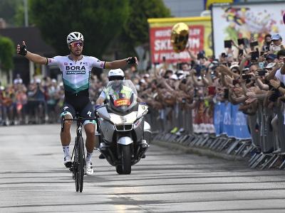 Peter Sagan oslavuje víťazstvo