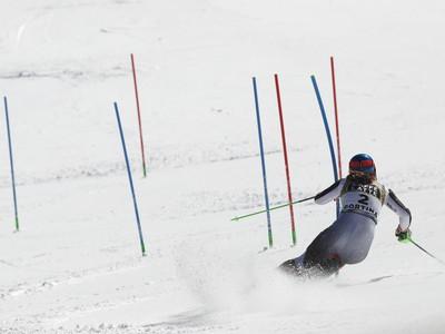 Petra Vlhová počas slalomu na MS v Cortine