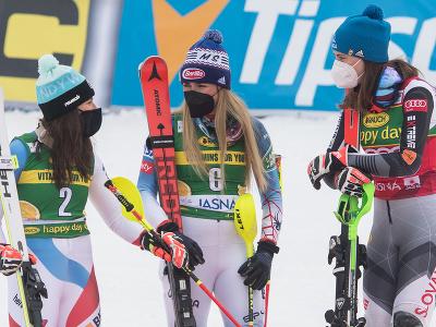Wendy Holdenerová, Mikaela Shiffrinová a Petra Vlhová