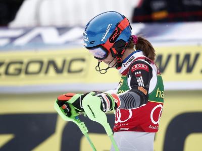 Petra Vlhová v cieli 2. kola slalomu v Jasnej