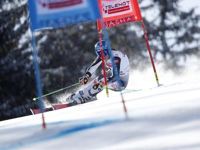 Petra Vlhová počas 2. kola obrovského slalomu v Jasnej