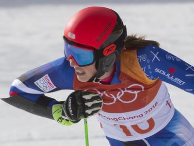 Petra Vlhová v cieli 2. kola obrovského slalomu žien na zimných olympijských hrách v Pjongčangu