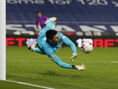 Nick Pope likviduje strelu v zápase s West Bromwich Albion