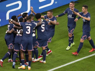 Radosť hráčov Paríža Saint Germain