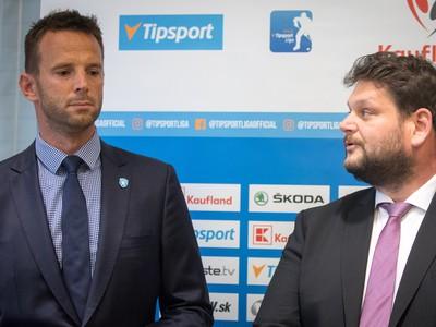 Riaditeľ Tipsport ligy Richard Lintner a športový riaditeľ Maďarského zväzu ľadového hokeja (MJSZ) Egri Gergely