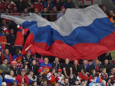 Ruská vlajka na tribúnach